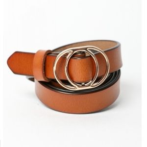⭐NEW! Leather Double O Ring Cinch Belt Camel OS